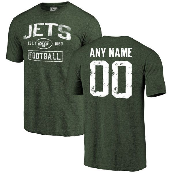 Men Green New York Jets Distressed Custom Name and Number Tri-Blend Custom NFL T-Shirt