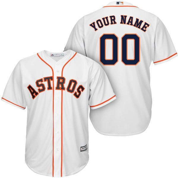 Men Houston Astros Majestic White Cool Base Custom MLB Jersey