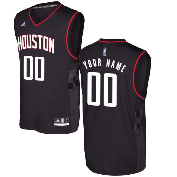 Men Houston Rockets Adidas Black Alternate Custom Replica NBA Jersey