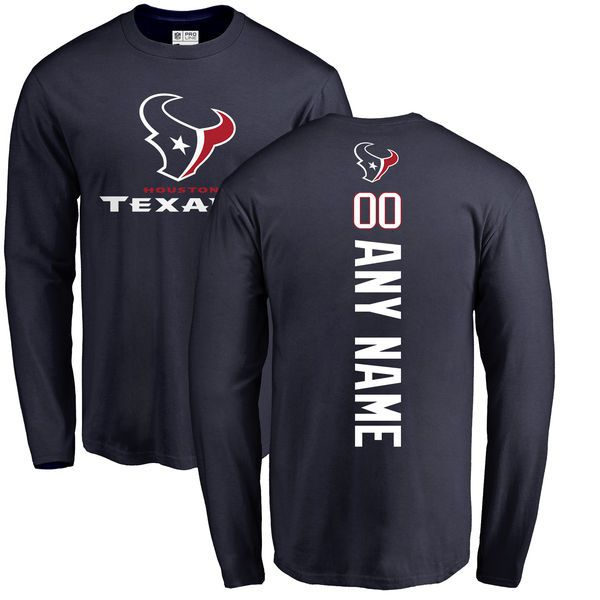 Men Houston Texans NFL Pro Line Navy Personalized Backer Long Sleeve T-Shirt