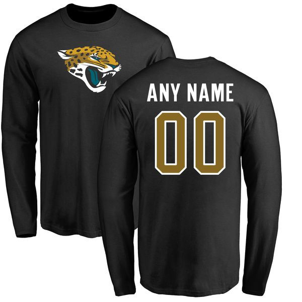 Men Jacksonville Jaguars NFL Pro Line Black Any Name and Number Logo Custom Long Sleeve T-Shirt