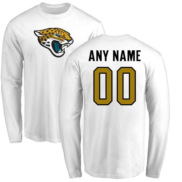 Men Jacksonville Jaguars NFL Pro Line White Custom Name and Number Logo Long Sleeve T-Shirt