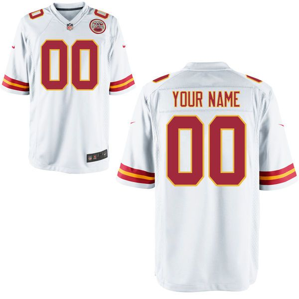 Men Kansas City Chiefs Custom Game White NFL Jersey
