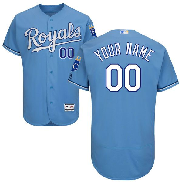 Men Kansas City Royals Majestic Alternate Atlantic Blue Flex Base Authentic Collection Custom MLB Jersey