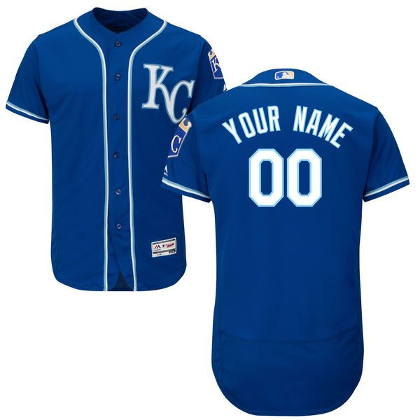 Men Kansas City Royals Majestic Alternate Royal Blue Flex Base Authentic Collection Custom MLB Jersey