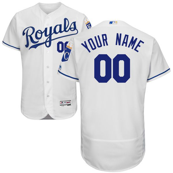 Men Kansas City Royals Majestic Home White Flex Base Authentic Collection Custom MLB Jersey