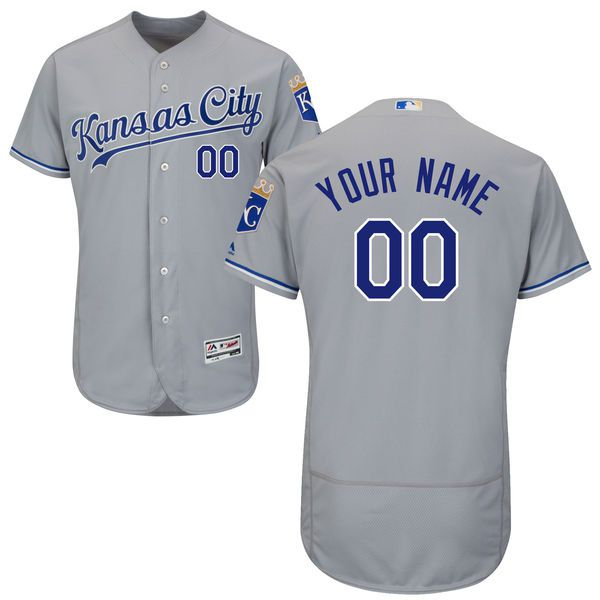 Men Kansas City Royals Majestic Road Gray Flex Base Authentic Collection Custom MLB Jersey