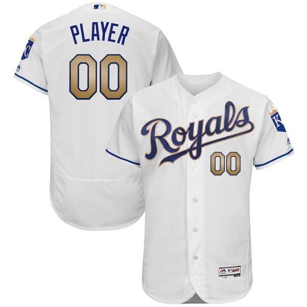 Men Kansas City Royals Majestic White 2017 Home Flex Base Authentic Custom MLB Jersey