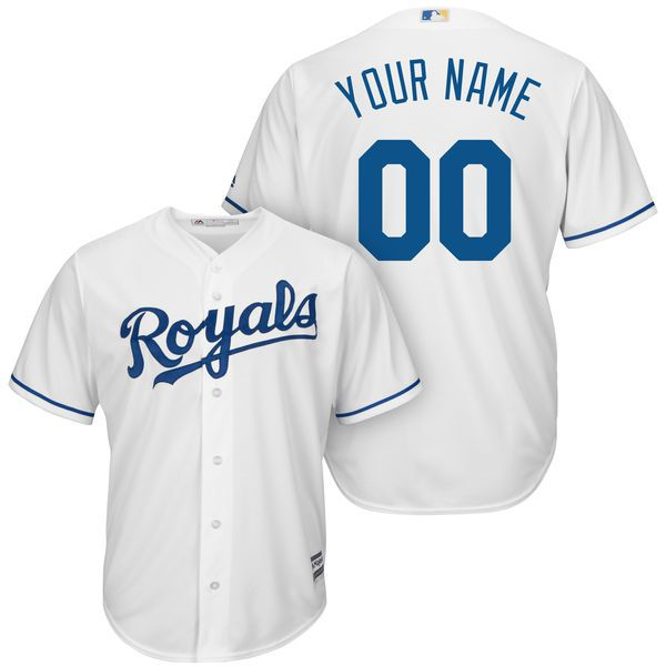 Men Kansas City Royals Majestic White Home Cool Base Custom MLB Jersey