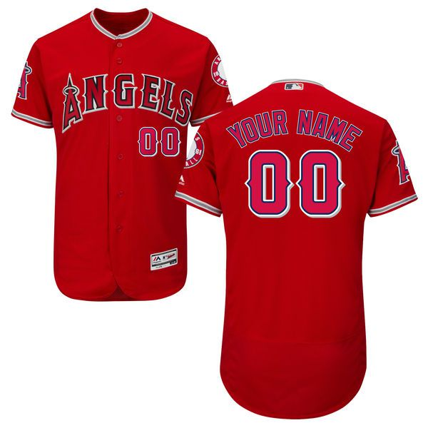 Men Los Angeles Angels of Anaheim Majestic Alternate Red Scarlet Flex Base Authentic Collection Custom MLB Jersey