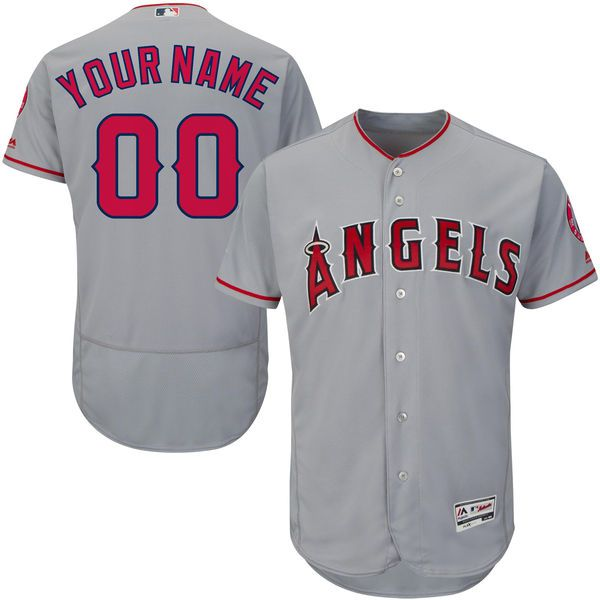 Men Los Angeles Angels of Anaheim Majestic Road Gray Flex Base Authentic Collection Custom MLB Jersey