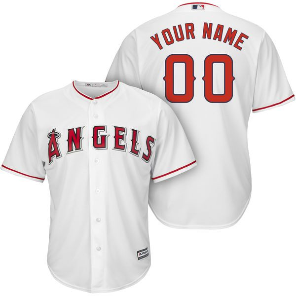 Men Los Angeles Angels of Anaheim Majestic White Cool Base Custom MLB Jersey