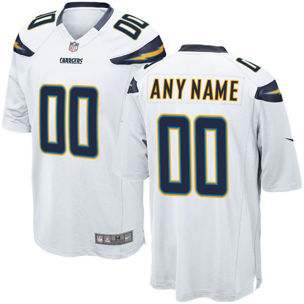 Men Los Angeles Chargers Custom Game White NFL Jersey