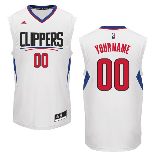 Men Los Angeles Clippers Adidas White Custom Home NBA Jersey
