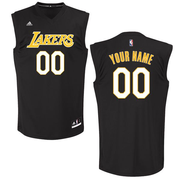 Men Los Angeles Lakers Adidas Black Custom Chase NBA Jersey