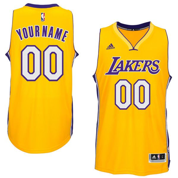 Men Los Angeles Lakers Adidas Gold Custom Swingman Home NBA Jersey