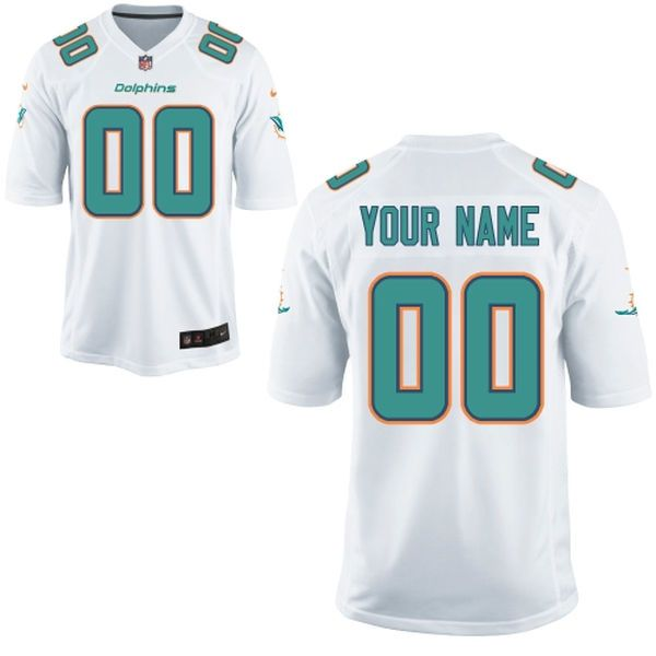 Men Miami Dolphins Custom White Game NFL Jersey