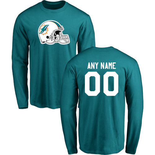 Men Miami Dolphins Design-Your-Own Long Sleeve Custom NFL T-Shirt