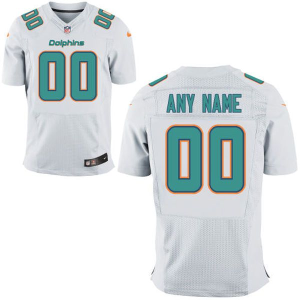 Men Miami Dolphins White Nike White Custom Elite NFL Jersey