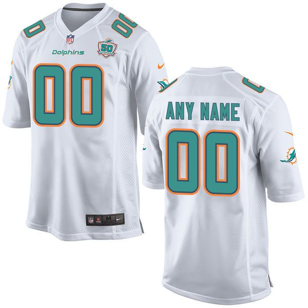 Men Miami Dolphins White Nike White Custom Patch Game NFL Jersey