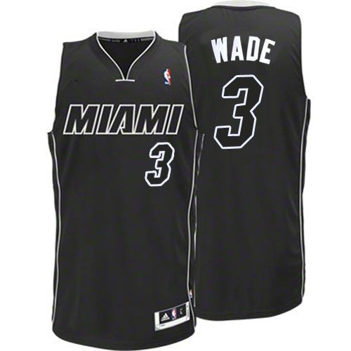 Men Miami Heat 3 Dwyane Wade Authentic BlackRevolution 30 NBA Jersey