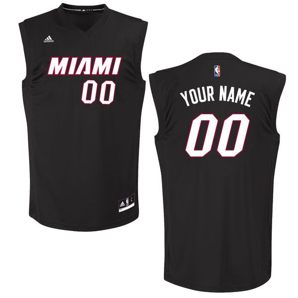Men Miami Heat Adidas Black Custom Chase NBA Jersey