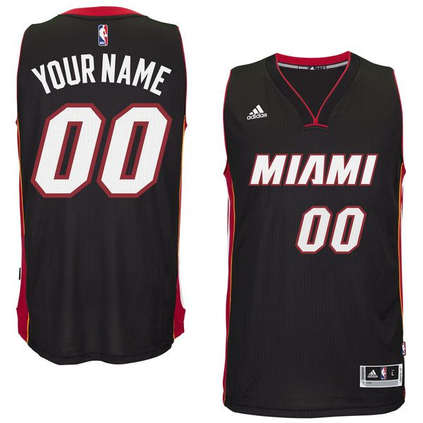 Men Miami Heat Adidas Black Custom Swingman Road NBA Jersey