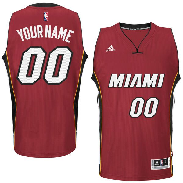 Men Miami Heat Adidas Red Custom Swingman Alternate NBA Jersey