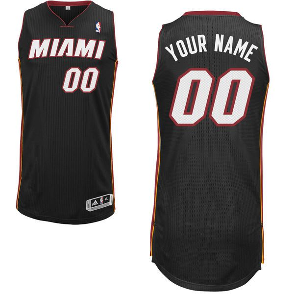 Men Miami Heat Black Custom Authentic NBA Jersey