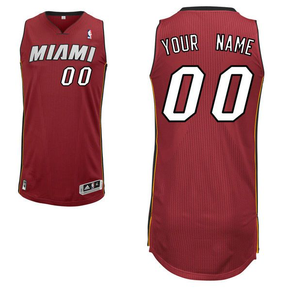Men Miami Heat Custom Authentic Red NBA Jersey