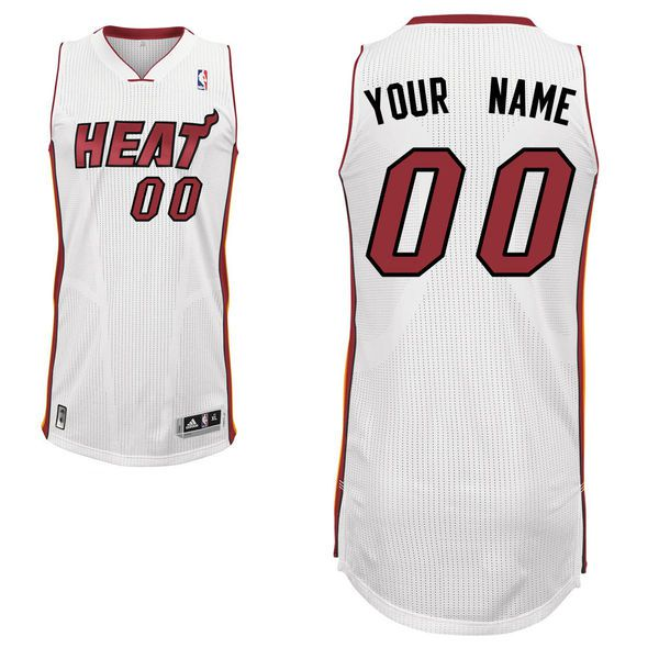 Men Miami Heat White Custom Authentic NBA Jersey