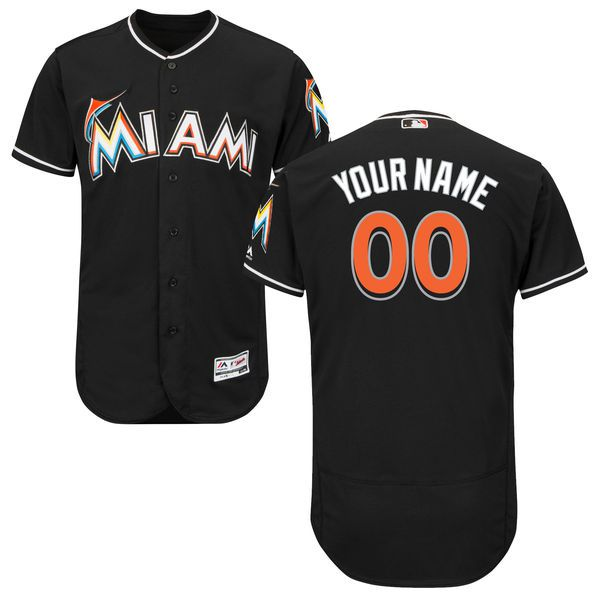 Men Miami Marlins Majestic Alternate Black Flex Base Authentic Collection Custom MLB Jersey