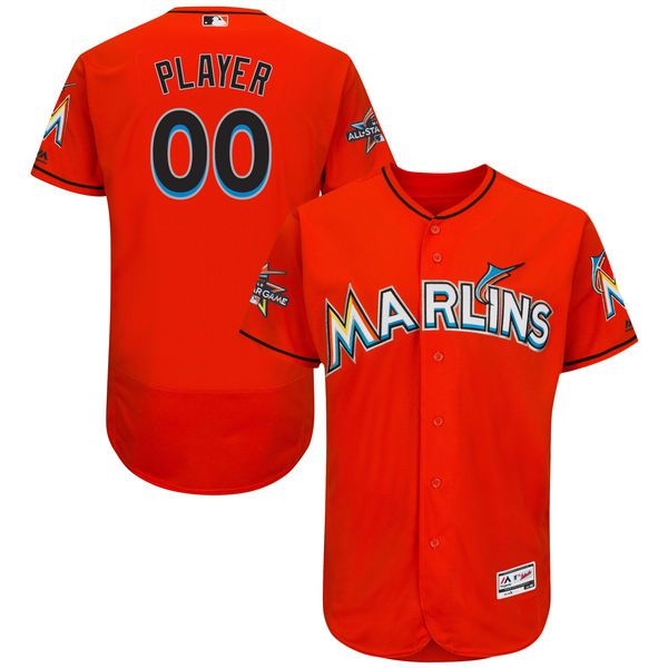 Men Miami Marlins Majestic Alternate Fire Red 2017 Authentic Flexbase Custom MLB Jersey with All-Star Game Patch