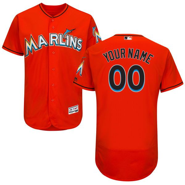 Men Miami Marlins Majestic Alternate Fire Red Flex Base Authentic Collection Custom MLB Jersey