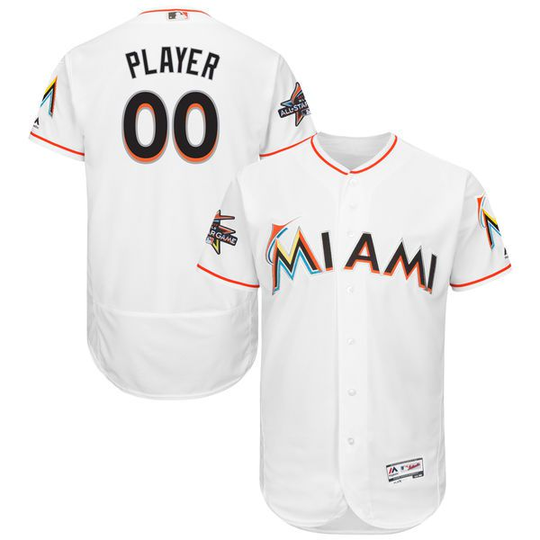 Men Miami Marlins Majestic Home White 2017 Authentic Flexbase Custom MLB Jersey with All-Star Game Patch