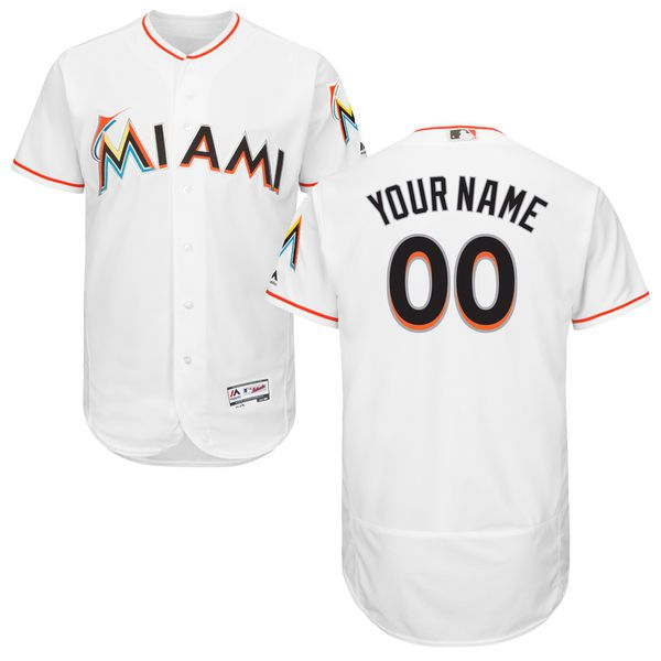 Men Miami Marlins Majestic Home White Flex Base Authentic Collection Custom MLB Jersey