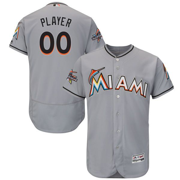 Men Miami Marlins Majestic Road Gray 2017 Authentic Flexbase Custom MLB Jersey with All-Star Game Patch