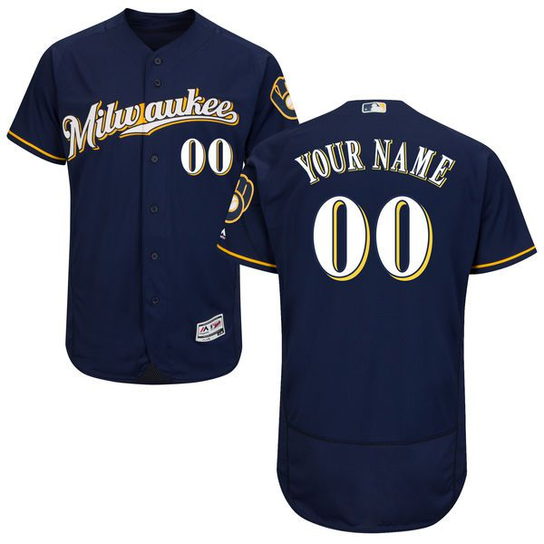 Men Milwaukee Brewers Majestic Alternate Road Navy Blue Flex Base Authentic Collection Custom MLB Jersey