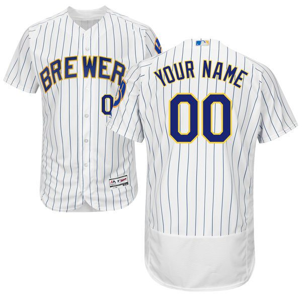 Men Milwaukee Brewers Majestic Alternate White Royal Flex Base Authentic Collection Custom MLB Jersey