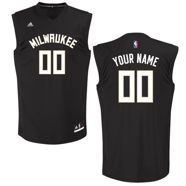 Men Milwaukee Bucks Adidas Black Custom Chase NBA Jersey