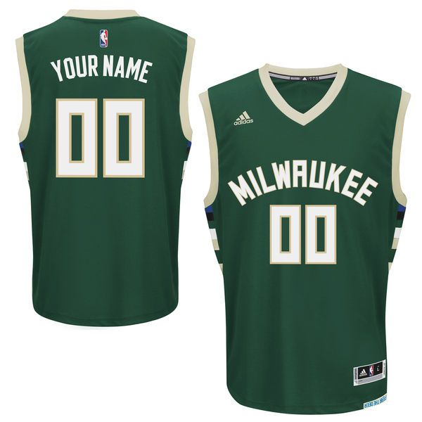 Men Milwaukee Bucks Adidas Hunter Green Custom Road Replica NBA Jersey