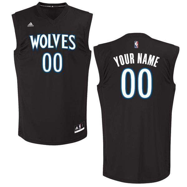 Men Minnesota Timberwolves Adidas Black Custom Chase NBA Jersey