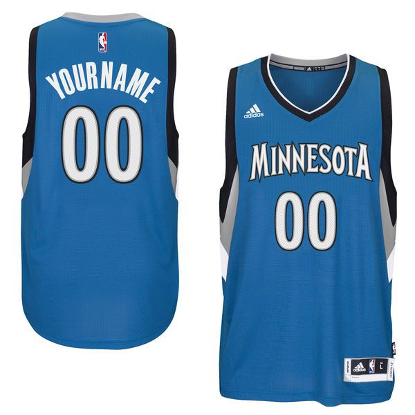 Men Minnesota Timberwolves Adidas Blue Custom Swingman Road NBA Jersey