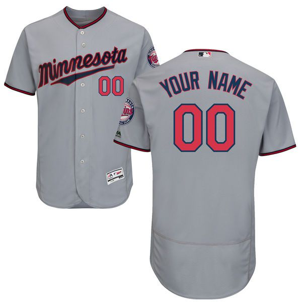 Men Minnesota Twins Majestic Road Gray Flex Base Authentic Collection Custom MLB Jersey