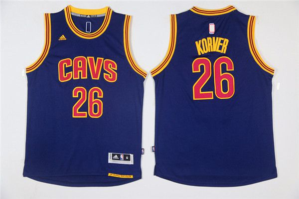 Men NBA Cleveland Cavaliers 26 Korver Blue Game Jerseys