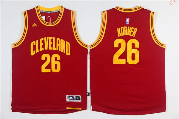 Men NBA Cleveland Cavaliers 26 Korver Red Game Jerseys