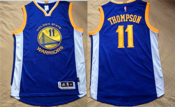 Men NBA Golden State Warriors 11 Thompson Blue Jerseys