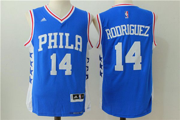 Men NBA Philadelphia 76ers 14 Rodriguez Blue Jerseys