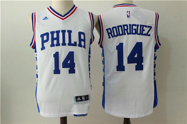 Men NBA Philadelphia 76ers 14 Rodriguez White Jerseys