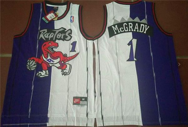 Men NBA Toronto Raptors 1 Tracy Blue White split Jerseys
